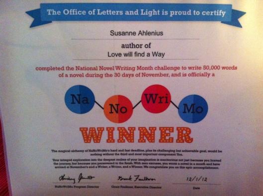 Certifikat NaNoWriMo 2012